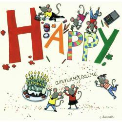 Carte Christine Donnier : Titi Pinson - Happy anniversaire - 13.5x13.5 cm