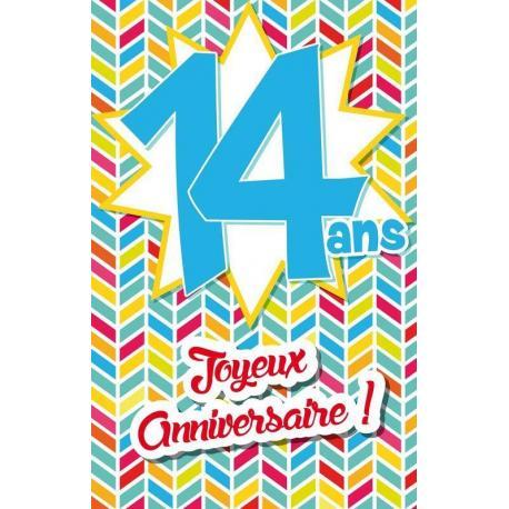 Carte âge 14 ans Joyeux anniversaire - Musique, livres, cinéma... - 11.5x18 cm
