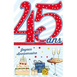 Carte âge 45 ans Joyeux anniversaire - L'âge mûr approche ... - 11.5x18 cm