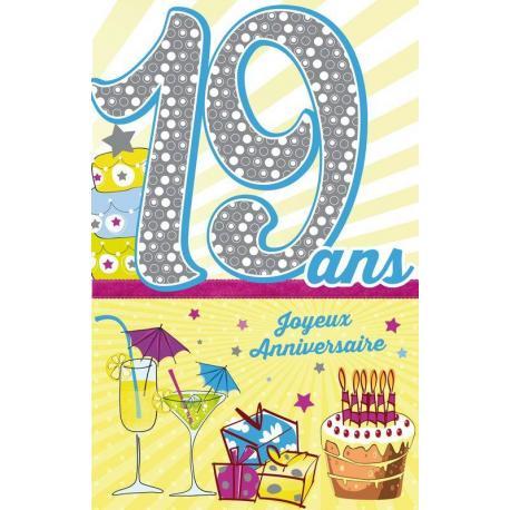 Carte âge 19 ans Joyeux anniversaire - Entre la majorité et la vingtaine... - 11.5x18 cm