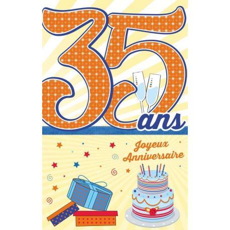 Carte âge 35 ans Joyeux anniversaire - Te voilà au coeur de cette belle ... - 11.5x18 cm