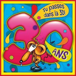 Carte Ze Souris - 30 ans Tu passes dans la 3D! 3 décennies... - 15x15 cm
