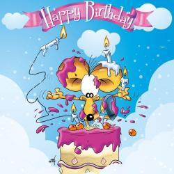 Carte Ze Souris - Happy birthday to you... - 15x15 cm