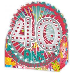 Carte Relief Petits Brins de Vie - 40 ans - 10x10.5x5 cm