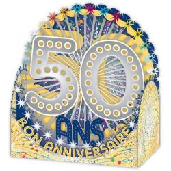 Carte Relief Petits Brins de Vie - 50 ans - 10x10.5x5 cm