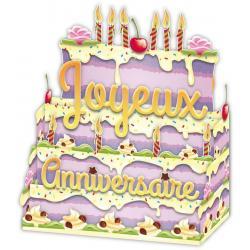 Carte Relief Petits Brins de Vie - Joyeux anniversaire Bougies et gâteau - 10x10.5x5 cm