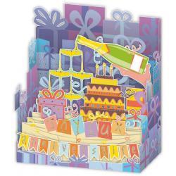 Carte Relief Petits Brins de Vie - Coupe de champagne et gâteau - 10x10.5x5 cm