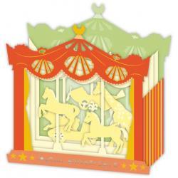 Carte 3D Petits Brins de Vie - Joyeux anniversaire Chevaux de bois - 10x10.5x5 cm