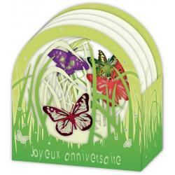 Carte Relief Petits Brins de Vie - Joyeux anniversaire Les papillons - 10x10.5x5 cm