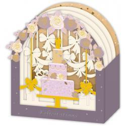 Carte 3D Petits Brins de Vie - Félicitations Gâteau de mariage - 10x10.5x5 cm