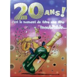 Carte double Ze Souris - 20 ans! c'est le moment de faire une fête.. .- 30x40 cm