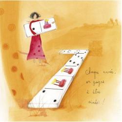 """Carte Anne-Sophie Rutsaert """"Chaque année, on gagne à être aimé(e)..."""" 14x14 cm"""