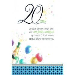 Carte Les mots du bonheur - 20 ans. Le jour de ses vingt ans est un jour unique... - 11.8x17 cm