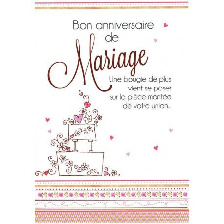 Carte Les mots du bonheur - Bon anniversaire de mariage... - 11.8x17 cm