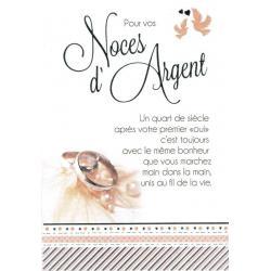 Carte Les mots du bonheur - Noces d'argent... - 11.8x17 cm