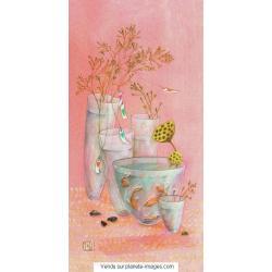 Carte Gaëlle Boissonnard 2017 - Les vases aux poissons - 10.5x21 cm