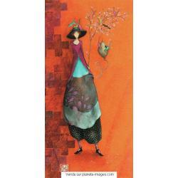 Carte Gaëlle Boissonnard 2017 - L'arbre aux oiseaux - 10.5x21 cm