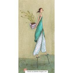 Carte Gaëlle Boissonnard 2017 - Femme échasses - 10.5x21 cm