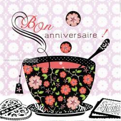 Carte Deco et Découpe - Bon anniversaire tasse de thé - DD11 - 14.5x14.5 cm