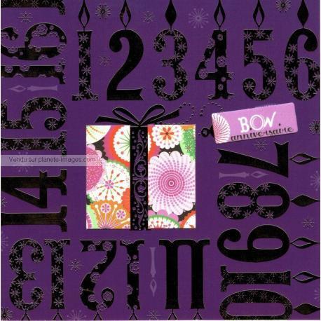 Carte Deco et Découpe - Bon anniversaire chiffre- DD14 - 14.5x14.5 cm