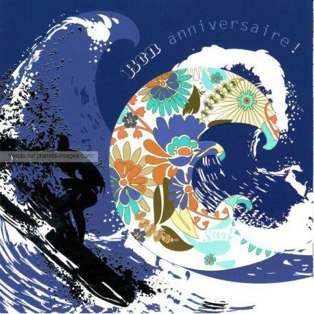 Carte Deco et Découpe - Bon anniversaire la grande vague - DD26 - 14.5x14.5 cm