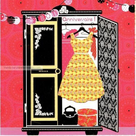 Carte Deco et Découpe - Bon anniversaire la garde robe - DD28 - 14.5x14.5 cm