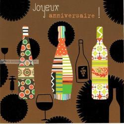 Carte Deco et Découpe - Joyeux anniversaire les bouteilles - DD29 - 14.5x14.5 cm