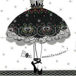 Carte Deco et Découpe - Bon anniversaire la robe - DD42 - 14.5x14.5 cm