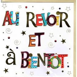 """Carte Au revoir et à bientôt """" Faite à la Main """" - 20 x 20.5 cm"""