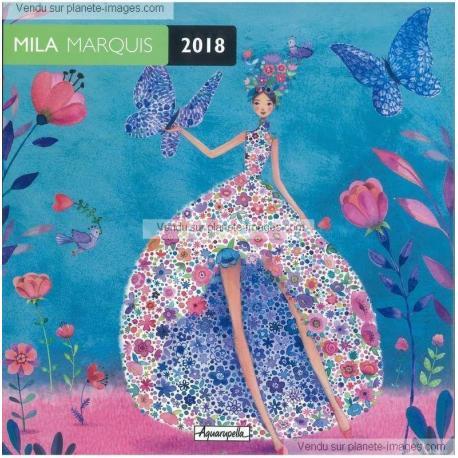 Calendrier Mila Marquis 2018 - La danse des papillons - 30x30 cm