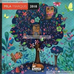 Calendrier 2018 Mila Marquis - L'arbre à chouettes - 16x16 cm
