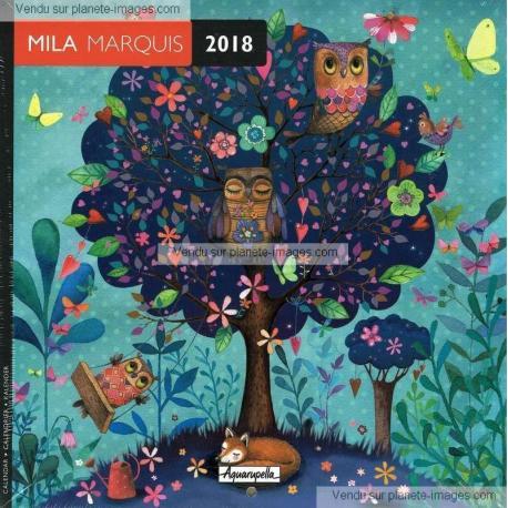 Calendrier Mila Marquis 2018 - L'arbre à chouettes - 16x16 cm