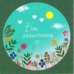 Carte Titi Pinson : Alice Pelaudeix - Bon anniversaire (coeurs suspendus) - 13.5x13.5 cm