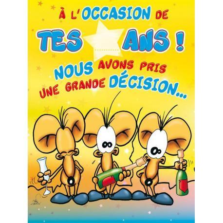 Carte double Ze Souris - A l'occasion de tes...ans! Nous avons pris une grande décision - 30x40 cm