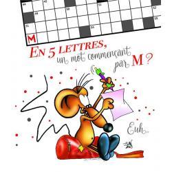 Carte Ze souris folie's - En 5 lettres, un mot commençant par M?... - Carte double 13.7x15.5 cm