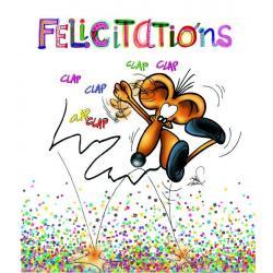 Carte Ze souris folie's - Félicitations ... - Carte double 13.7x15.5 cm