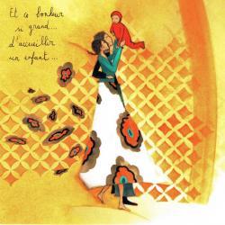 """Carte Anne-Sophie Rutsaert """"Et ce bonheur si grand... d'accueillir un enfant..."""" 14x14 cm"""