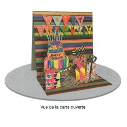 Carte 3D à poser - Happy Birthday sur une partition musicale - 8x16x16 cm