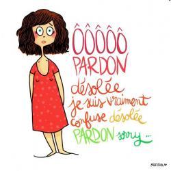 Carte Mathou - Pardon Sorry - 14x14 cm