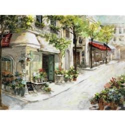 Toile : Aquarelle d'une ville fleuriste - 60x80 cm