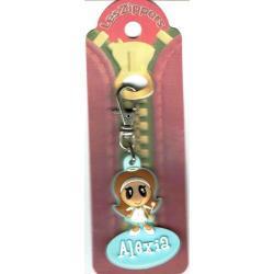 Porte-clés Zipper prénom ALEXIA - 6.5x 3 cm env