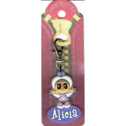 Porte-clés Zipper prénom ALICIA - 6.5x 3 cm env