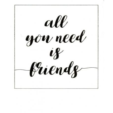 Carte citation - All you need is friends - Polaroid colorchic 10x12 cm