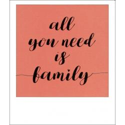 Carte citation - All you need is family - Polaroid colorchic 10x12 cm