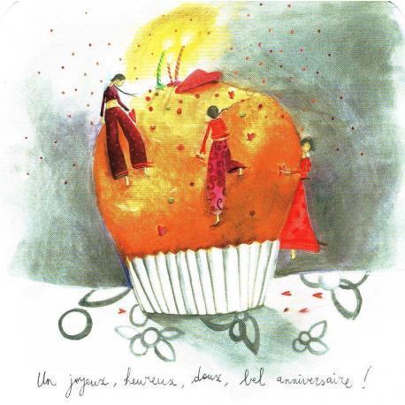Carte Anne Sophie Rutsaert Un Joyeux Heureux Doux Bel Anniversaire 14x14 Cm Planete Images Com