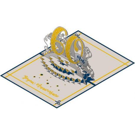 Carte Relief Pop Up - 60 ans - PL06 - 11.7x16.75 cm