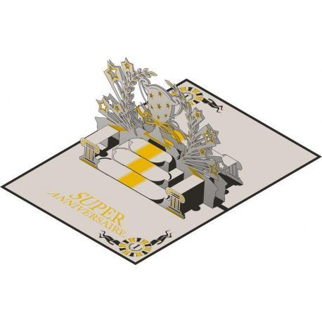 Carte Relief Pop Up - Super Anniversaire : La coupe - PL09 - 11.7x16.75 cm