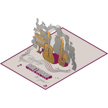 Carte Relief Pop Up - Joyeux Anniversaire : Musique - PL10 - 11.7x16.75 cm