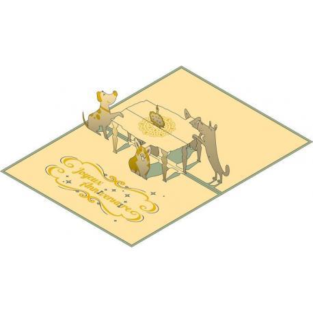 Carte Relief Pop Up - Joyeux Anniversaire : Nos amis les animaux - PL13 - 11.7x16.75 cm
