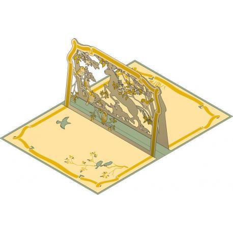 Carte Relief Pop Up - Sans texte : Chevaux - PL19 - 11.7x16.75 cm